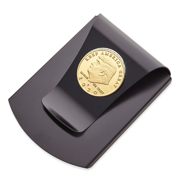 Storus® Smart Money Clip®President Trump, Keep America Great, Commemorative 2020 Election Edition - Gunmetal with gold Trump medallion - by #Storus #ScottKaminski #MoneyClip #SlimClip #bestmoneyclip #groomsmangifts #Swag #Love #trump #President