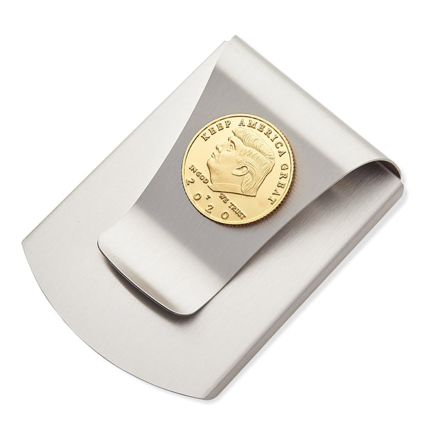 Storus® Smart Money Clip®President Trump, Keep America Great, Commemorative 2020 Election Edition - Titanium with gold Trump medallion - #Storus #ScottKaminski #MoneyClip #SlimClip #bestmoneyclip #groomsmangifts #Swag #Love #trump #President