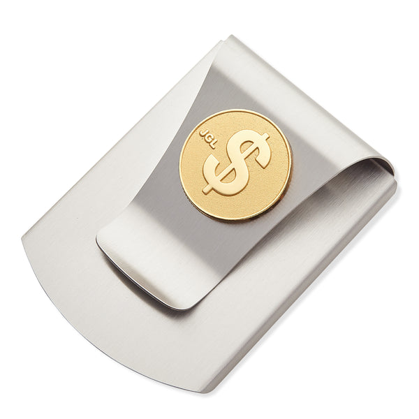 Storus® Smart Money Clip® Titanium with gold $ Sign medallion - #Storus #ScottKaminski #MoneyClip #SlimClip #bestmoneyclip #groomsmangifts #Swag #Love #trump #President