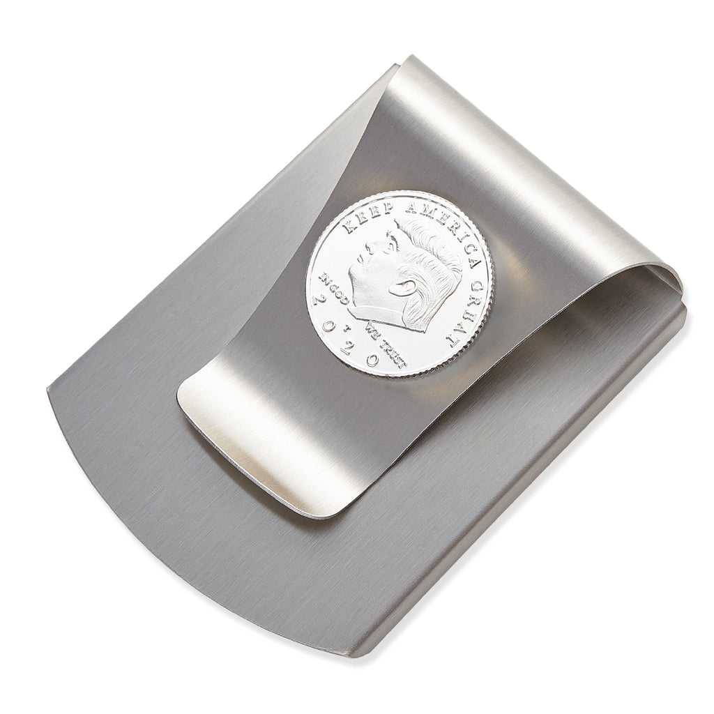 Storus® Smart Money Clip® Commemorative 2020 Election Edition - Brushed Stainless with silver Trump medallion - #Storus #ScottKaminski #MoneyClip #SlimClip #bestmoneyclip #groomsmangifts #Swag #Love #trump #President