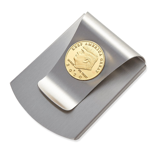 Storus® Smart Money Clip® Commemorative 2020 Election Edition - Brushed Stainless with gold Trump medallion - #Storus #ScottKaminski #MoneyClip #SlimClip #bestmoneyclip #groomsmangifts #Swag #Love #trump #President