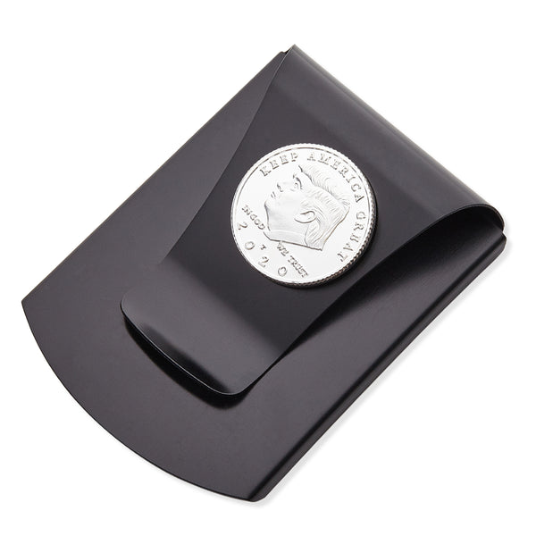 Storus® Smart Money Clip®President Trump, Keep America Great, Commemorative 2020 Election Edition - Brushed Matte Black with silver Trump Medallion shown - #ScottKaminski #Storus #MoneyClip #SlimClip #bestmoneyclip #groomsmangifts #Swag #Love #trump #President