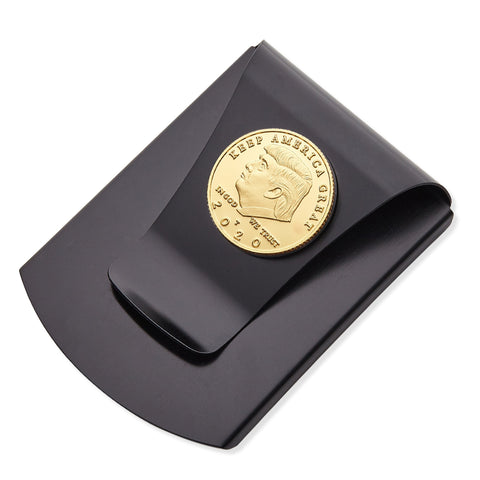 Storus® Smart Money Clip®President Trump, Keep America Great, Commemorative 2020 Election Edition - Brushed Matte Black with gold Trump Medallion shown - #ScottKaminski #Storus #MoneyClip #SlimClip #bestmoneyclip #groomsmangifts #Swag #Love #trump #President
