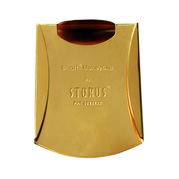 Storus® Smart Money Clip gold finish with channel side empty - #ScottKaminski #Storus #MoneyClip #SlimClip #bestmoneyclip #groomsmengifts #gifts #wedding #fathersday #golf #Swag #Love