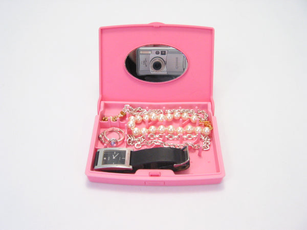 Storus Smart Jewelry Case® Mini - Pink - open front view filled with jewelry