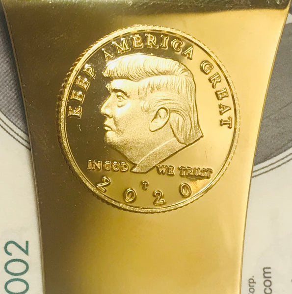 Storus® Smart Money Clip®President Trump, Keep America Great, Commemorative 2020 Election Edition - Polished Gold with gold Trump medallion - #ScottKaminski #Storus #MoneyClip #SlimClip #bestmoneyclip #groomsmangifts #Swag #Love #trump #President