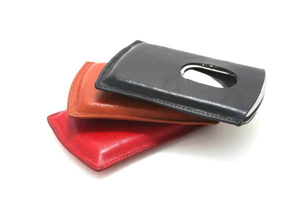 Smart Card Case Leather Cover + Metal - Cognac