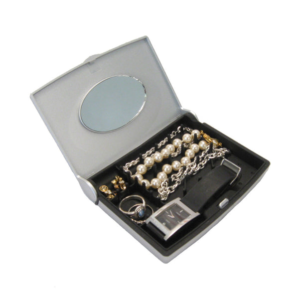 Storus Smart Jewelry Case® Mini - silver - top view open filled with jewelry
