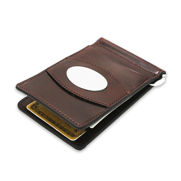 Storus Razor Wallet™ w/ Engraving Plate - Dark Brown - front view