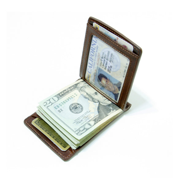 Storus Razor Wallet™ w/ Engraving Plate - Dark Brown color open view with cash and ID inside