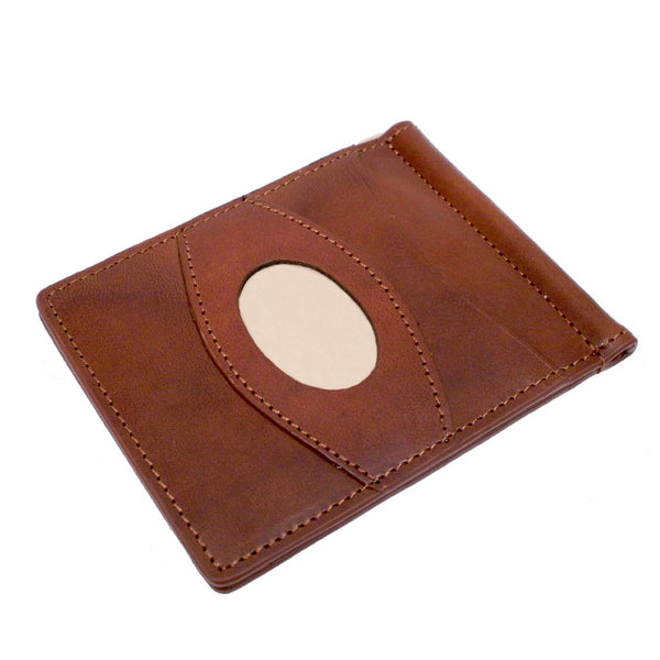Storus Razor Wallet™ International - Medium Brown color front view with engraving plate