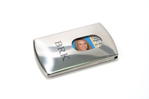 Storus Metal Smart Card Case front side with thumb hole and ID inside engraved