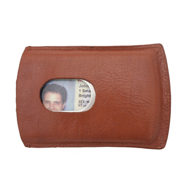 Storus metal Smart Card Case With leather cover cognac color front side with thumb hole and ID inside