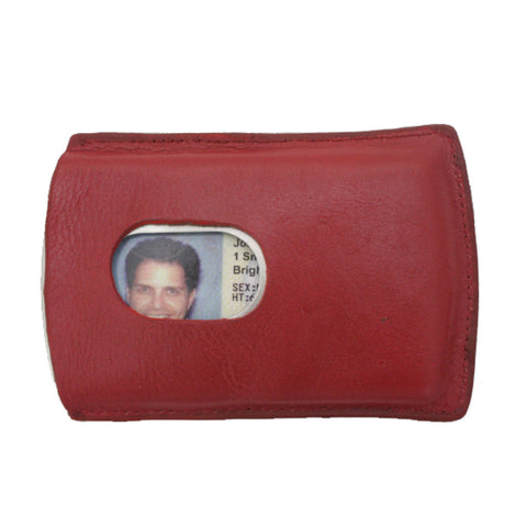 Storus metal Smart Card Case with leather cover red color front side with thumb hole and ID inside