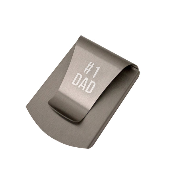 Storus® Smart Money Clip engraved #1 Dad - #ScottKaminski #Storus #MoneyClip #SlimClip #bestmoneyclip #groomsmengifts #gifts #wedding #fathersday #golf #Swag #Love