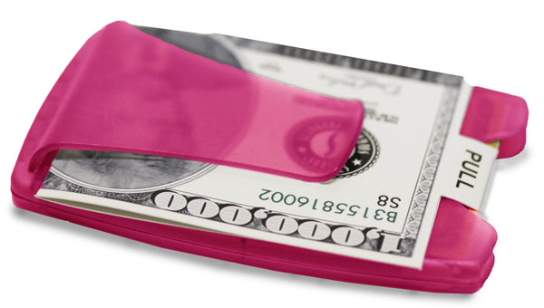 Smart Money Clip® Lite - Pink - Storus - clip side shown with a fake dollar bill inside