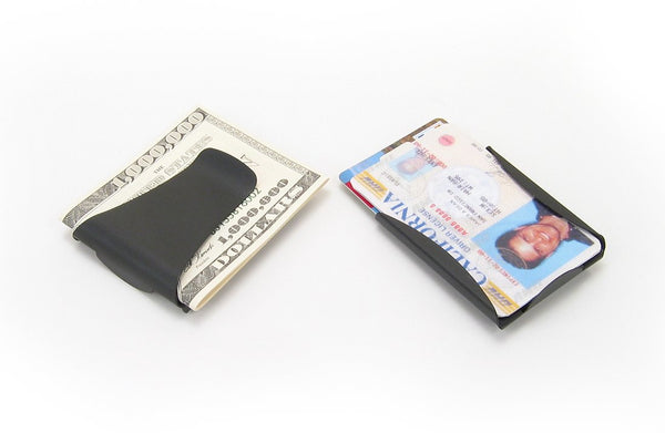 Storus Smart Momey Clip - front and back side by side comparison with cash and cards inside