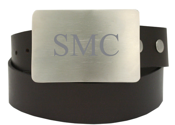 Storus Smart Belt Buckle™ - Brushed Stainless Steel on belt engraved