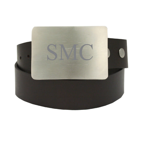 Storus Smart Belt Buckle™ - Titanium finish on leather belt strap engraved