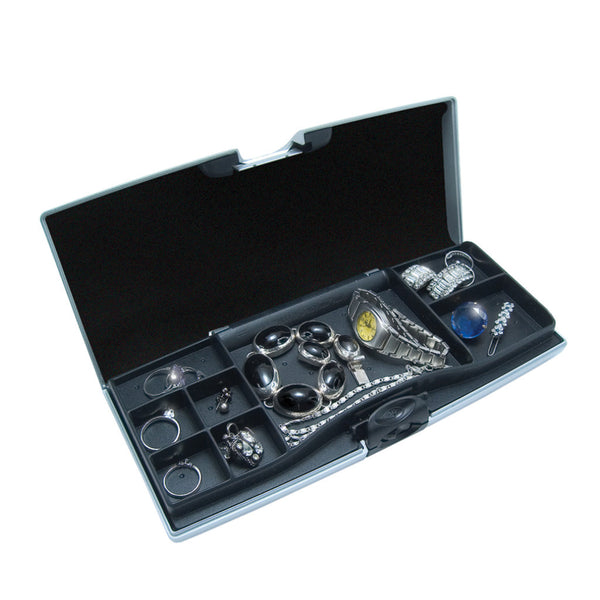 Smart Jewelry Case® - Silver - compartment side open and filled with jewelry