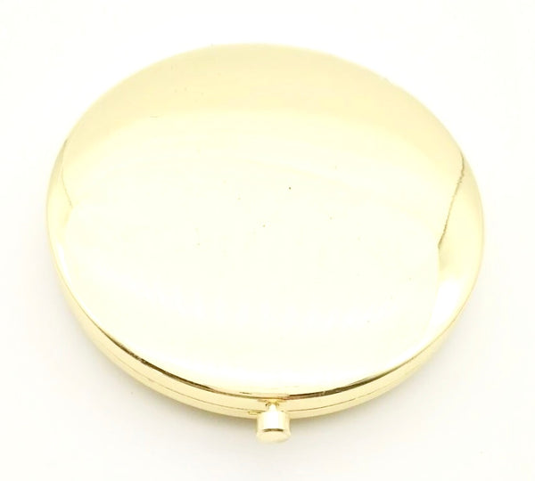 Mia Beauty Jeweled Compact mirror with gold metal and gold glass rhinestone  back side shown open