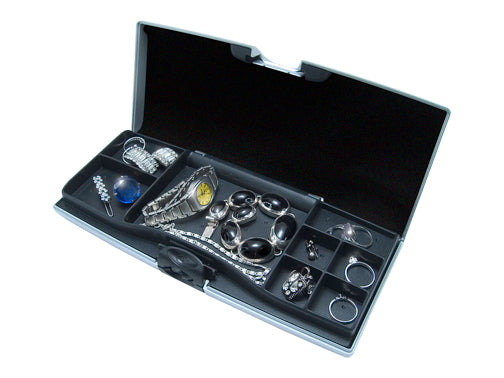 Storus Smart Jewelry Case® open view compartment side full of jewelry