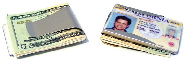 Smart Money Clip clip side and card side shown side by side -#ScottKaminski #Storus #MoneyClip #SlimClip #bestmoneyclip #groomsmangifts #Swag #Love