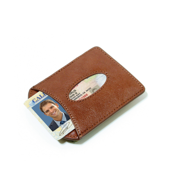 Smart Money Clip® Leather - Cognac - Storus - card side with driver's license inside
