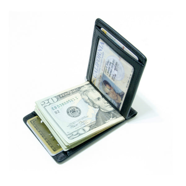 Storus Razor Wallet™ w/ Engraving Plate - Black open view with money and ID inside