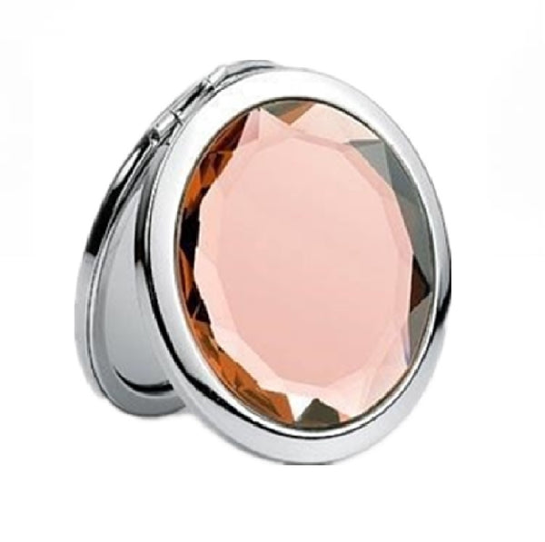 Mia® Jeweled Compact Mirror - Peach white color rhinestone - invented by #MiaKaminski #MiaBeauty #Mirrors #CompactMirror #TravelMirror #purseMirror #Pretty #love #mothersday