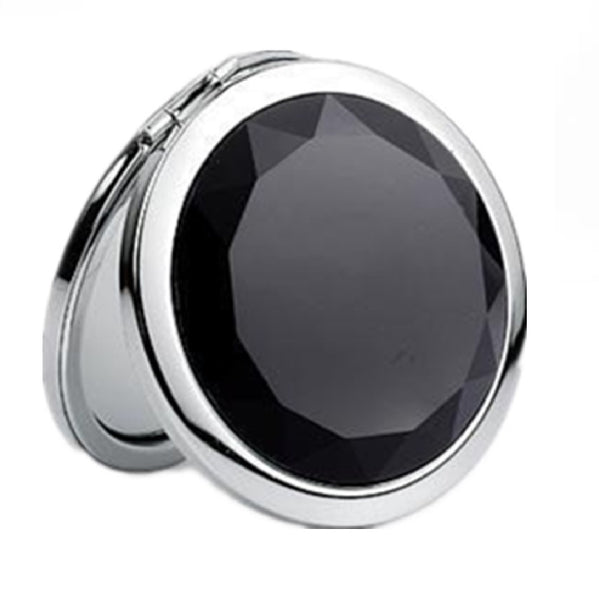 Mia® Jeweled Compact Mirror - black rhinestone - invented by #MiaKaminski #MiaBeauty #Mirrors #CompactMirror #TravelMirror #purseMirror #Pretty #love #mothersday