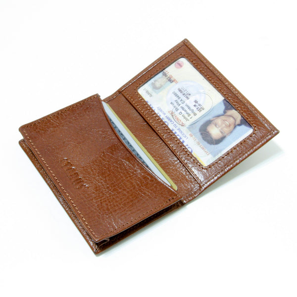 Storus® Smart Wallet™ Leather - cognac color - shown open and filled - #ScottKaminski #Storus #Man #MensAccessories #storagesolutions #organization #Wallets #MoneyClips #storagesolutions #organization #travel #lovethis #life