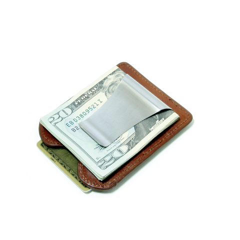 Smart Money Clip® Leather - Cognac - Storus - clip side with money
