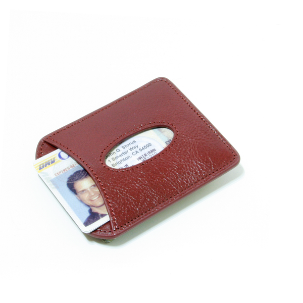 Smart Money Clip® Leather - Wine - Storus - card side with driver's license