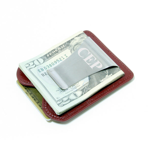 Smart Money Clip® Leather - Wine - Storus - clip side engraved traditional font