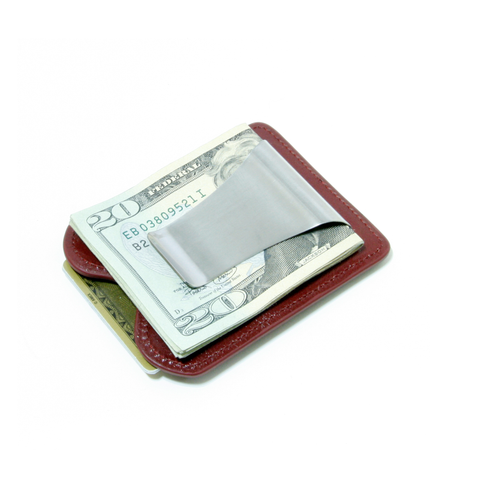 Smart Money Clip® Leather - Wine - Storus - clip side with money