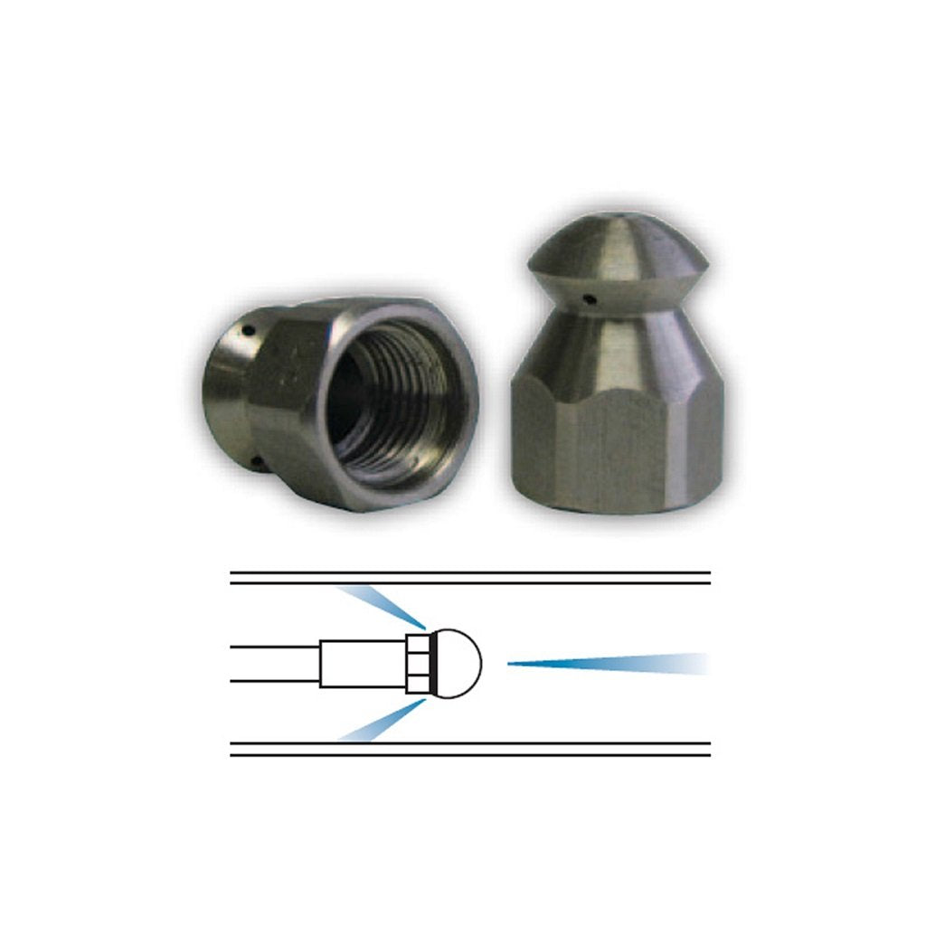 "1/4"" Laser Nozzle (1 FWD 3 Rear Jets) for Sewer and Drain Cleaning - #09.5"