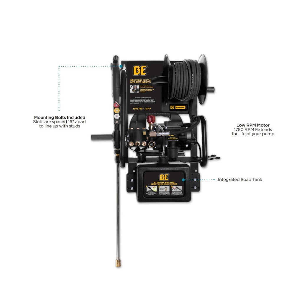 110Volt 1500psi BE Heavy Duty Residential Wall Mount Electric Pressure Washer P1515EPNW