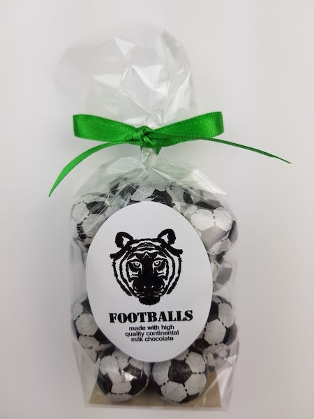 Paper Tiger Foiled Chocolate Footballs in a Ribboned Bag