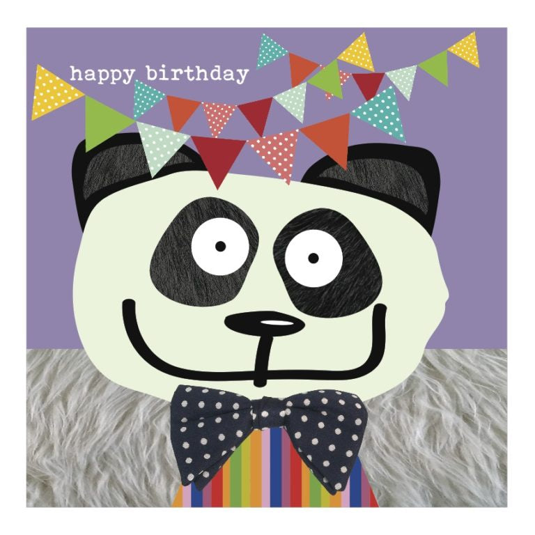 Colourful Panda Happy Birthday Card