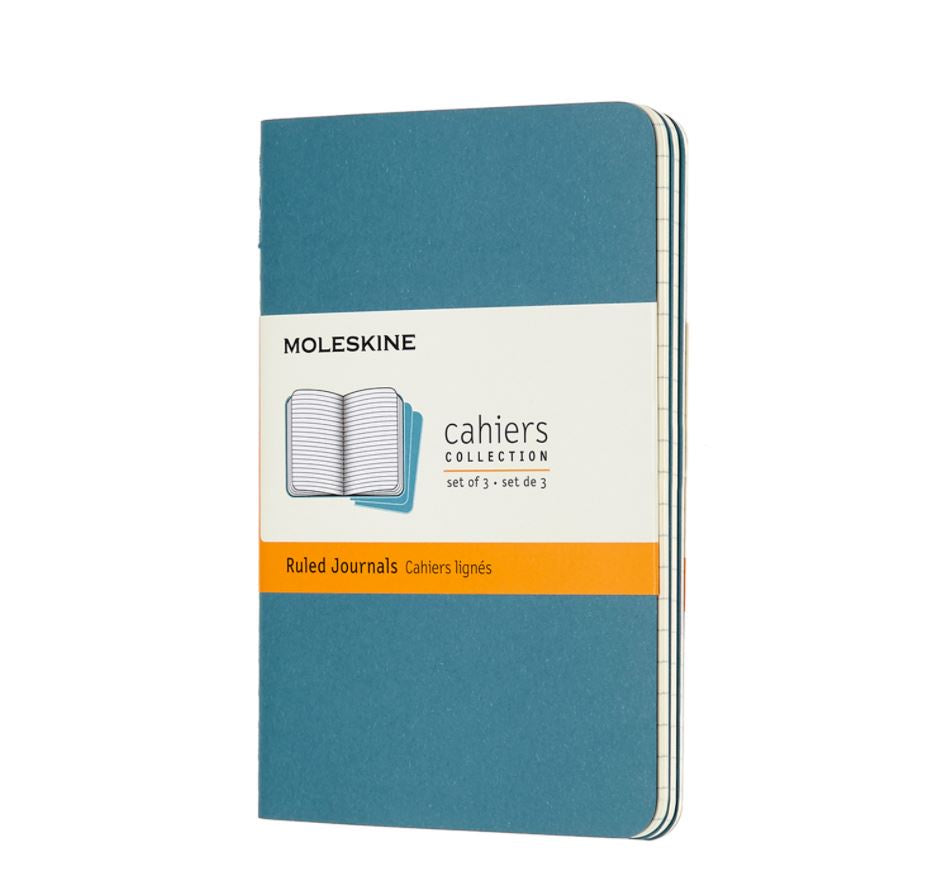 Moleskine Cahiers Set of 3 Ruled Pocket Journals Brisk Blue