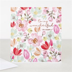 To My Wonderful Mum Floral All Over Card