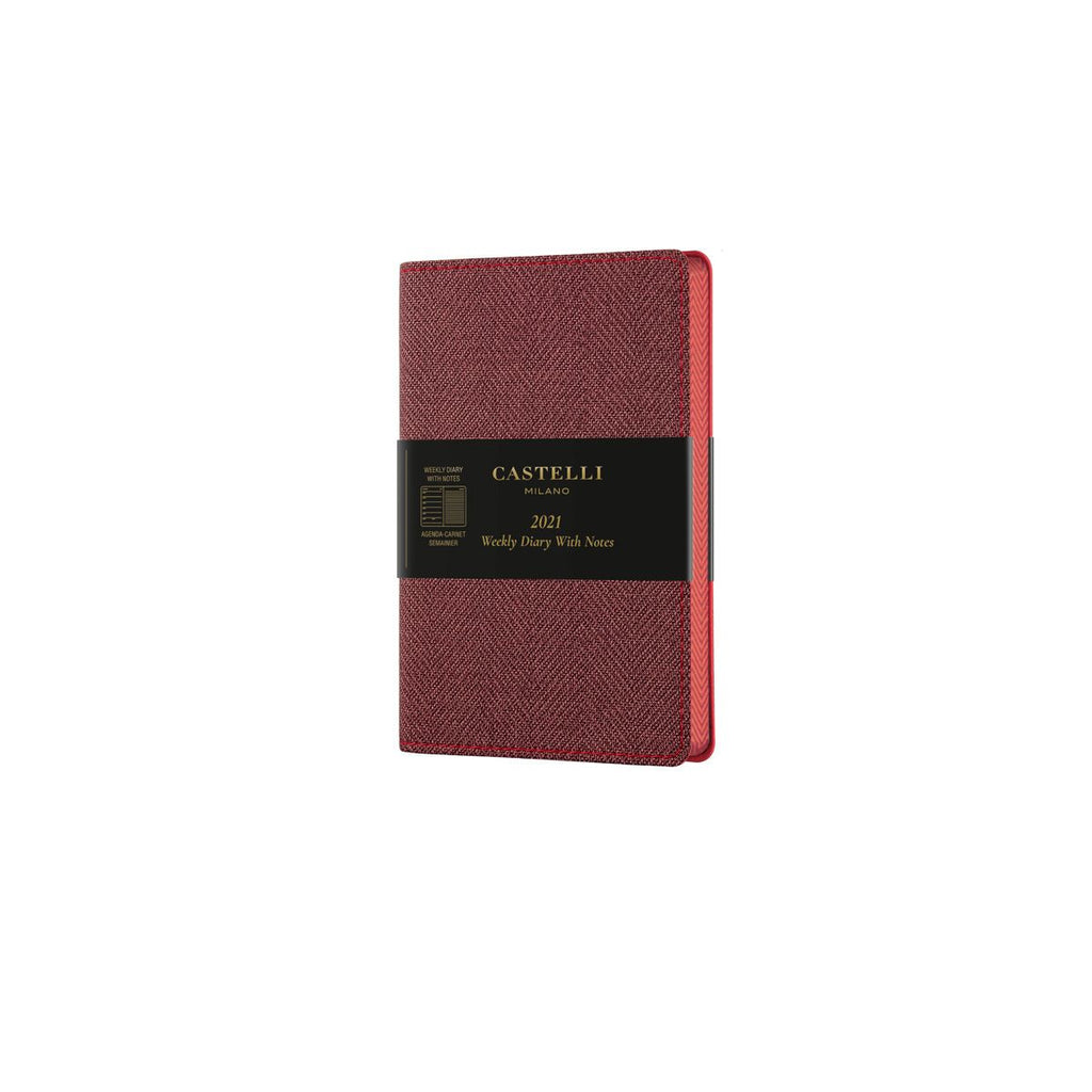 Castelli Harris Maple Red Weekly Pocket 2021 Diary