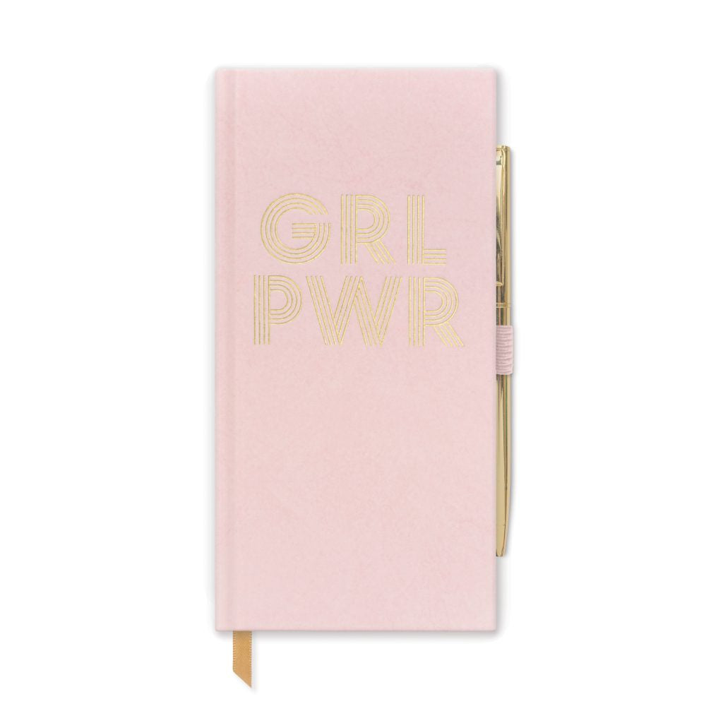Slim Grl Pwr Dusty Pink Cloth Notebook with Pen