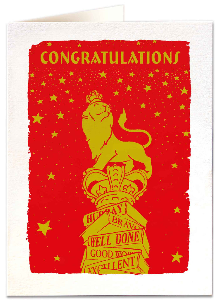 Gold Lion Congratulations Card