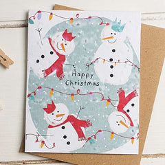 Happy Christmas 4 Snowmen Seed Card