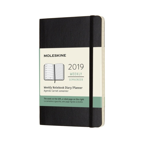 2019 Moleskine Weekly Pocket Planner Hardcover Black