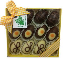 Paper Tiger Yellow Box of Chocolate Eggs Filled with Hazelnut Praline