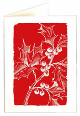 Holly Berries on Red Pack of 5 Cards