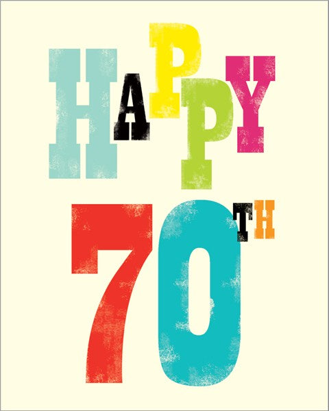 70th Birthday Ink Press Card